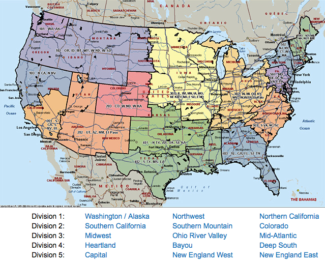 image of USA climbing regions